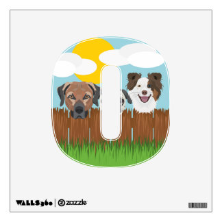 Illustration lucky dogs on a wooden fence wall decal