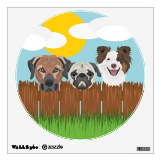 Illustration lucky dogs on a wooden fence wall sticker