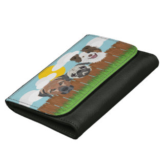 Illustration lucky dogs on a wooden fence wallet for women