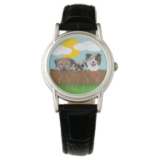 Illustration lucky dogs on a wooden fence watch