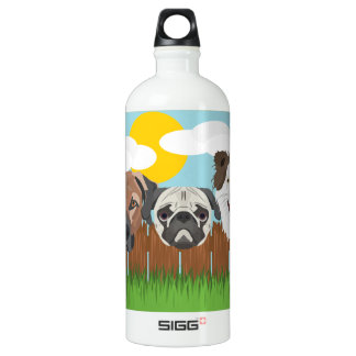 Illustration lucky dogs on a wooden fence water bottle