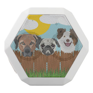 Illustration lucky dogs on a wooden fence white bluetooth speaker