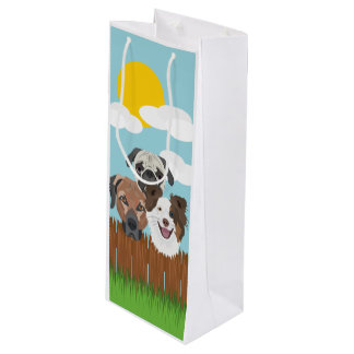 Illustration lucky dogs on a wooden fence wine gift bag