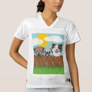 Illustration lucky dogs on a wooden fence women's football jersey