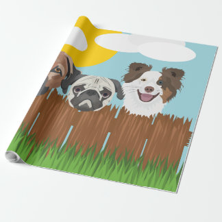 Illustration lucky dogs on a wooden fence wrapping paper