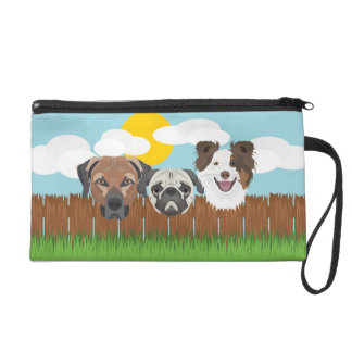 Illustration lucky dogs on a wooden fence wristlet