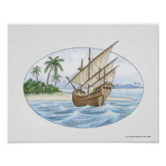 Illustration of 16th Century ship near island Poster