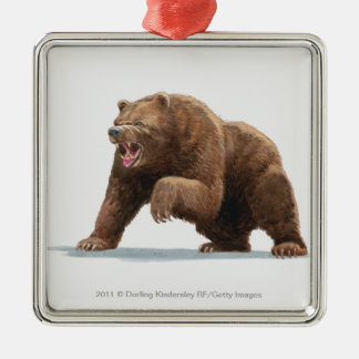 Illustration of a Brown bear Silver-Colored Square Ornament