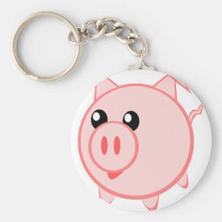 Illustration Of A Cartoon Pig Keychain