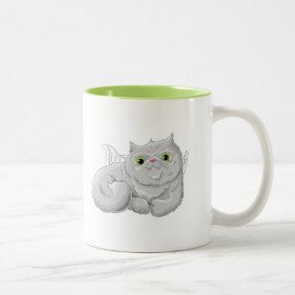 Illustration of a cute cat Angel Two-Tone Coffee Mug