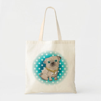 Illustration of a cute dog pug tote bag