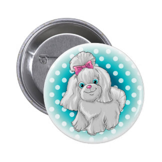 Illustration of a cute dog yorkshire terrier 2 inch round button