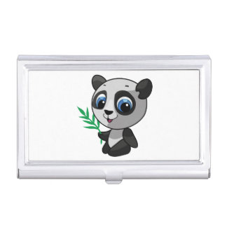 Illustration of a cute wild panda with bamboo business card cases