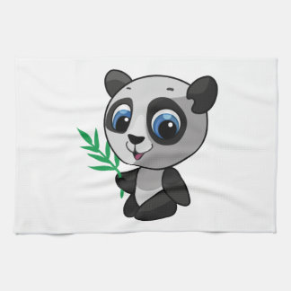 Illustration of a cute wild panda with bamboo kitchen towels