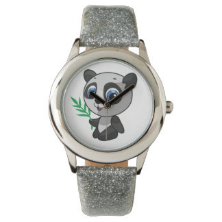 Illustration of a cute wild panda with bamboo watch