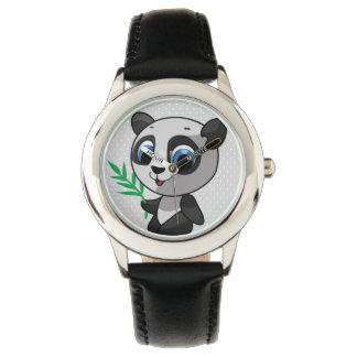 Illustration of a cute wild panda with bamboo wrist watches