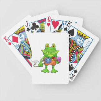 Illustration of a frog. bicycle playing cards