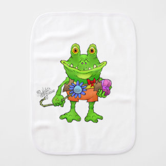Illustration of a frog. burp cloth