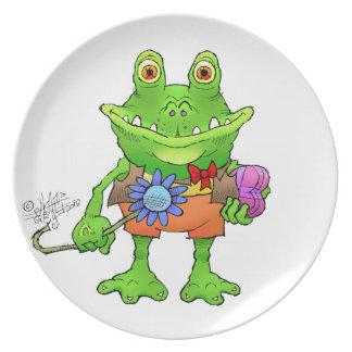Illustration of a frog. plate