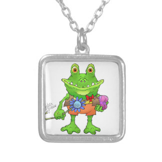 Illustration of a frog. silver plated necklace