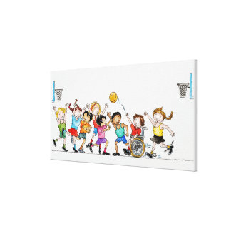 Illustration of a group of children including a canvas print