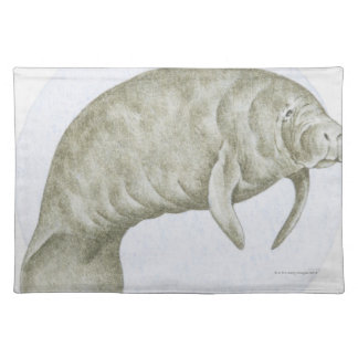 Illustration of a Manatee (Trichechus sp.) Placemat