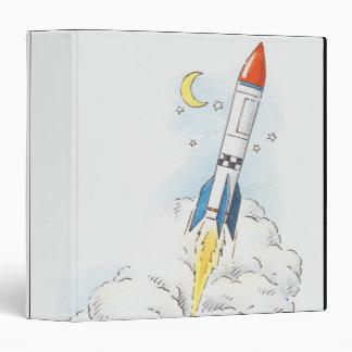 Illustration of a rocket taking off binders