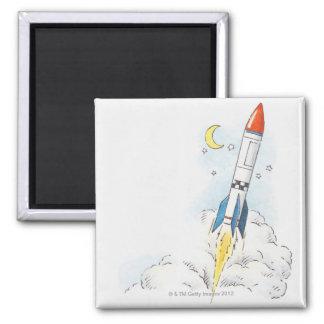 Illustration of a rocket taking off magnet