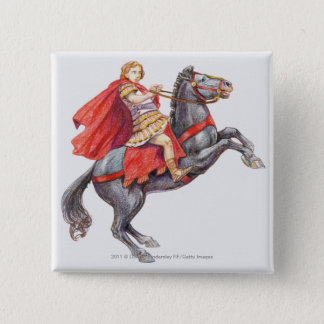 Illustration of Alexander the Great 2 Inch Square Button