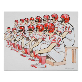 Illustration of American football team sitting Poster