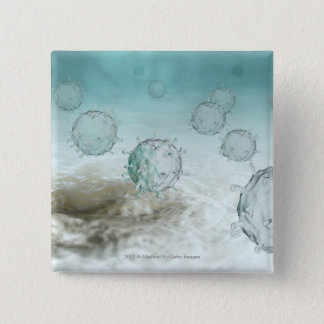 Illustration of avian flu cells 2 inch square button