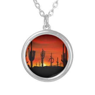 Illustration of cactus tree when the sunset silver plated necklace