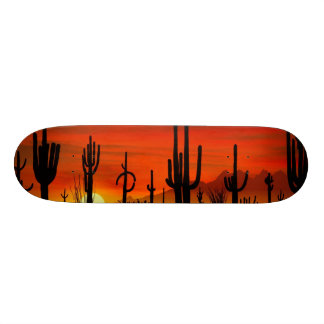 Illustration of cactus tree when the sunset skate board