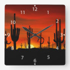 Illustration of cactus tree when the sunset square wall clock