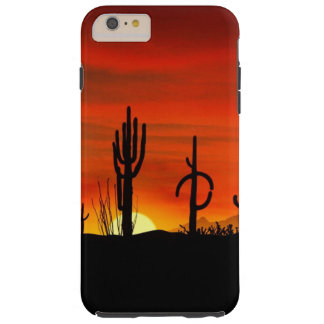 Illustration of cactus tree when the sunset tough iPhone 6 plus case