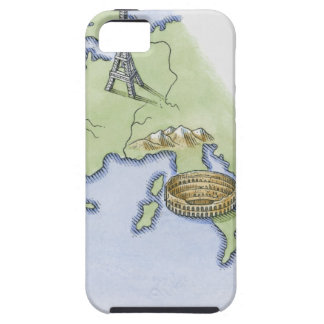 Illustration of Eiffel Tower in Paris and iPhone 5 Cases