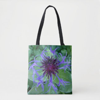 Illustration of giant, blue and purple corn flower tote bag
