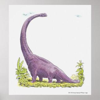 Illustration of Giraffatitan dinosaur Poster