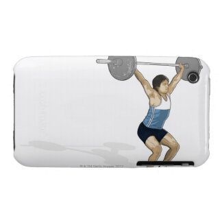 Illustration of man performing weightlifting iPhone 3 Case-Mate cases