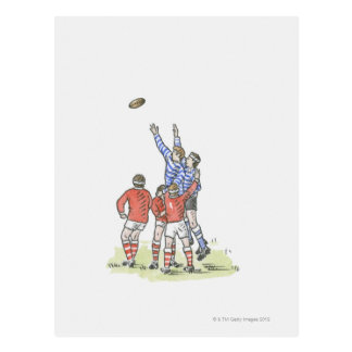 Illustration of men playing rugby jumping in air postcard