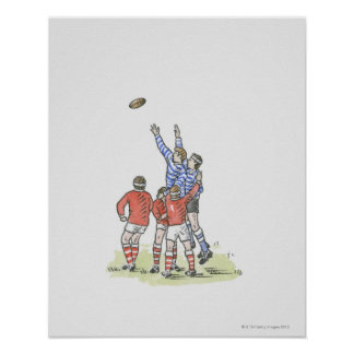 Illustration of men playing rugby jumping in air poster