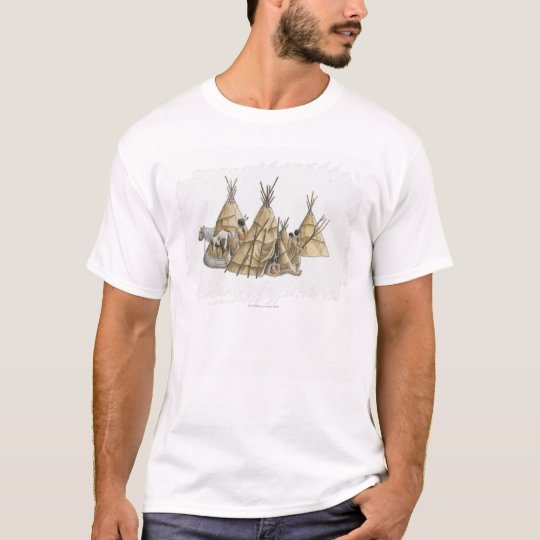 Illustration of Native Americans, teepees, and T-Shirt