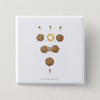 Illustration of neutron hitting Uranium-235 2 Inch Square Button