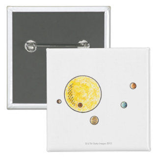 Illustration of planets orbiting the Sun 2 Inch Square Button
