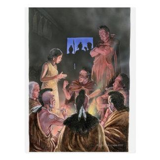 Illustration of Pocahontas speaking to her Postcard