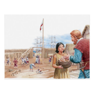 Illustration of Pocahontas visiting Captain John Postcard