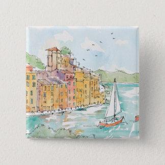 Illustration of Porofino Harbor With Sailboat 2 Inch Square Button