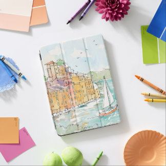 Illustration of Porofino Harbor With Sailboat iPad Air Cover
