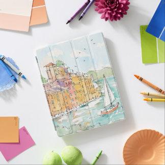 Illustration of Porofino Harbor With Sailboat iPad Cover
