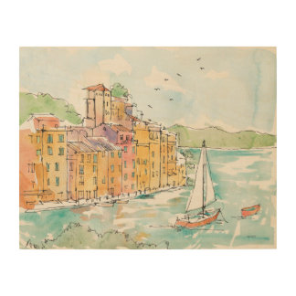 Illustration of Porofino Harbor With Sailboat Wood Wall Art